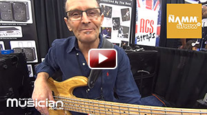Wayne Jones from Wayne Jones Audio at his booth at the NAMM SHOW, where he played us the Seinfeld theme then spoke of his high end bass gear. Rob Walker from Australian Musician behind the camera
