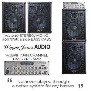 Wayne Jones Audio 1×10 Stereo/Mono Bass Guitar Cabinets (500 Watt a side) & WJBPII Twin Channel Bass Pre-Amp
