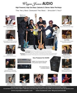 Latest Bass Player Magazine full page advert paying tribute to some of the very best bass players in the world who make up the Wayne Jones AUDIO endorsee family.