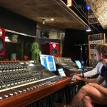 Mitch Kurz & Steve Scanlon (obscured) demonstrating the Jones-Scanlon Studio Monitors
