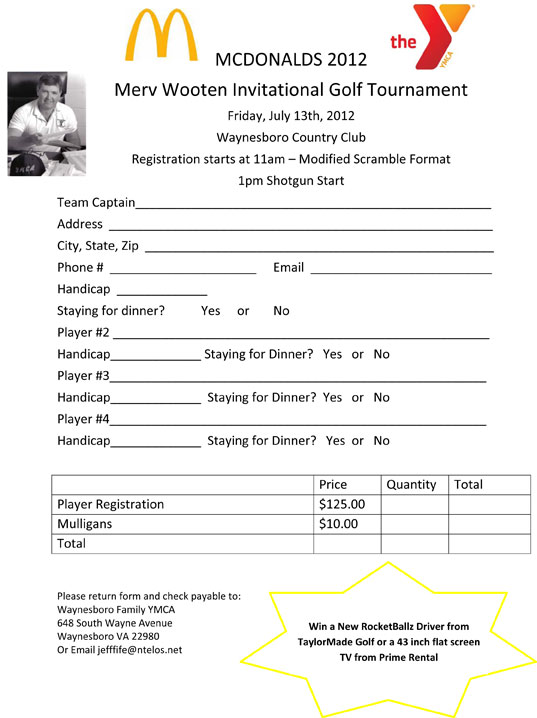 Mcdonald'S/Wooten Golf Tourney Registration Form : Waynesboro
