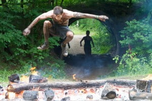 Jumping Through Fire at Spartan Race