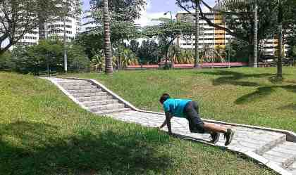 Hand-foot crawl (same as the parkour quadrupedal movement or bear crawl)