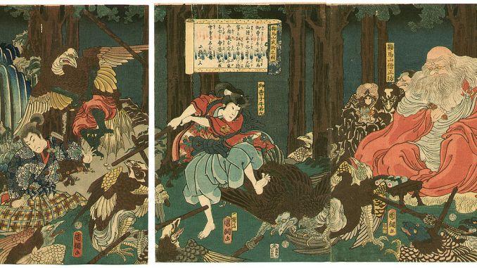 Ushiwaka-maru training with the tengu of Mount Kurama