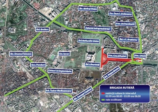 Harta restrictii rutiere Piata Constitutiei