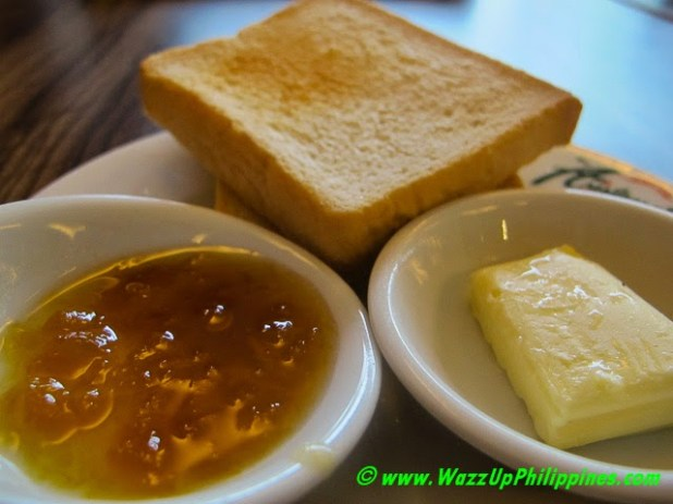 Photos of slices of toasts with butter and  jam, breakfast at Aristocrat Restaurant
