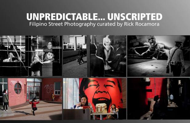 Unpredictable Unscripted Filipino Street Photography curated by Rick Rocamora Exhibit poster
