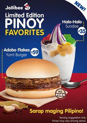 Jollibee Adobo Yum Burger and Halo Halo Sundae