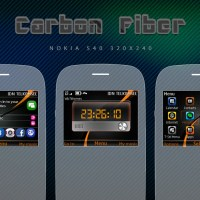 Carbon Fiber Digital Clock Themes C3-00 X2-01 320x240 s406th