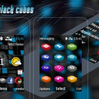 Abstract black cubes digital clock swf theme X2-00 X2-02