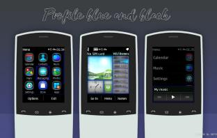 Touch-type themes black and blue swf wallpaper with media skin