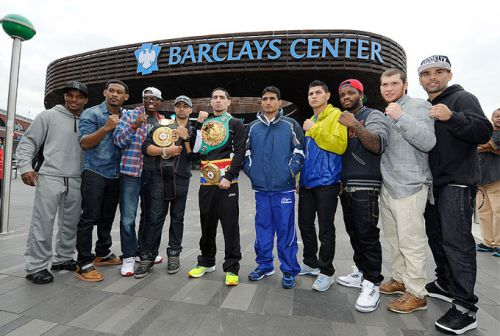 Barclay's Center fighters at Brooklyn Bridge & Barclays Center