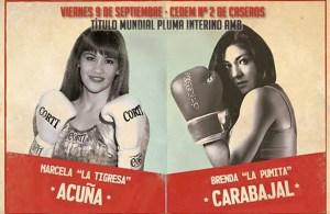 "Marcela ""La Tigresa"" Acuña vs Brenda Carabajal por el título femenino AMB peso pluma"