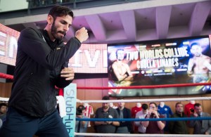 Jorge Linares does a Open Work Out at the National Football Museum, manchester Ahead of His fight against Anthony Crolla for the WBA, WBC Diamond and vacant Ring magazine Lightweight titles at the Manchester Arena on Saturday September 24. 20th September 2016. Picture By Mark Robinson.