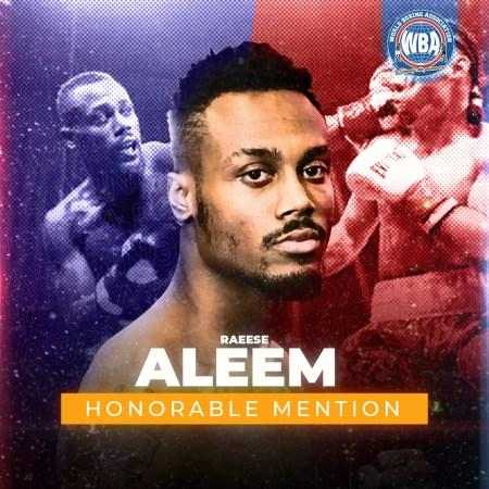 Raeese Aleem -WBA Honorable Mention January 2021