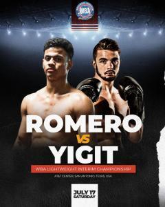 Romero will defend his WBA belt against Yigit this Saturday