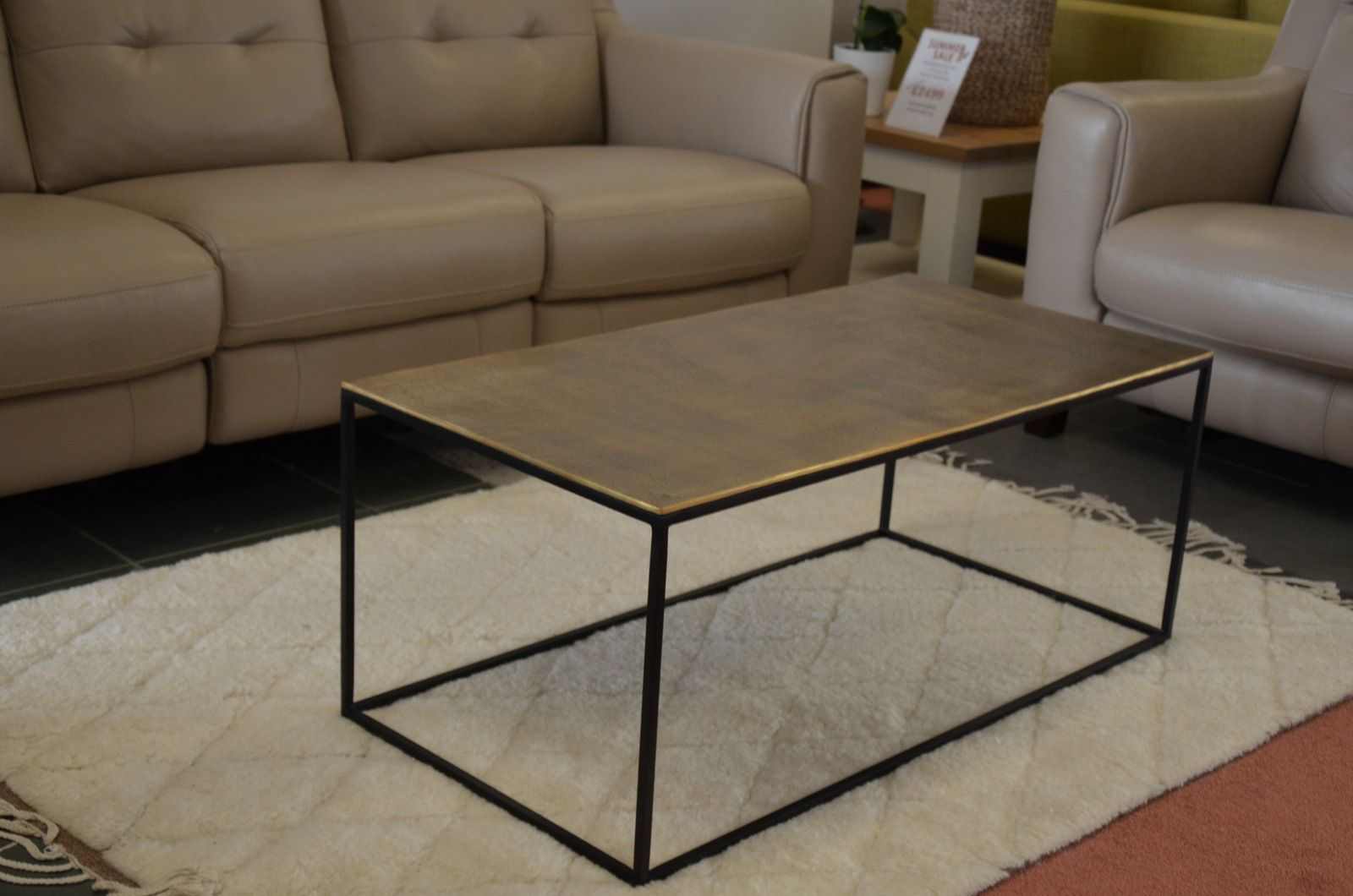 brass topped coffee table famous uk designer