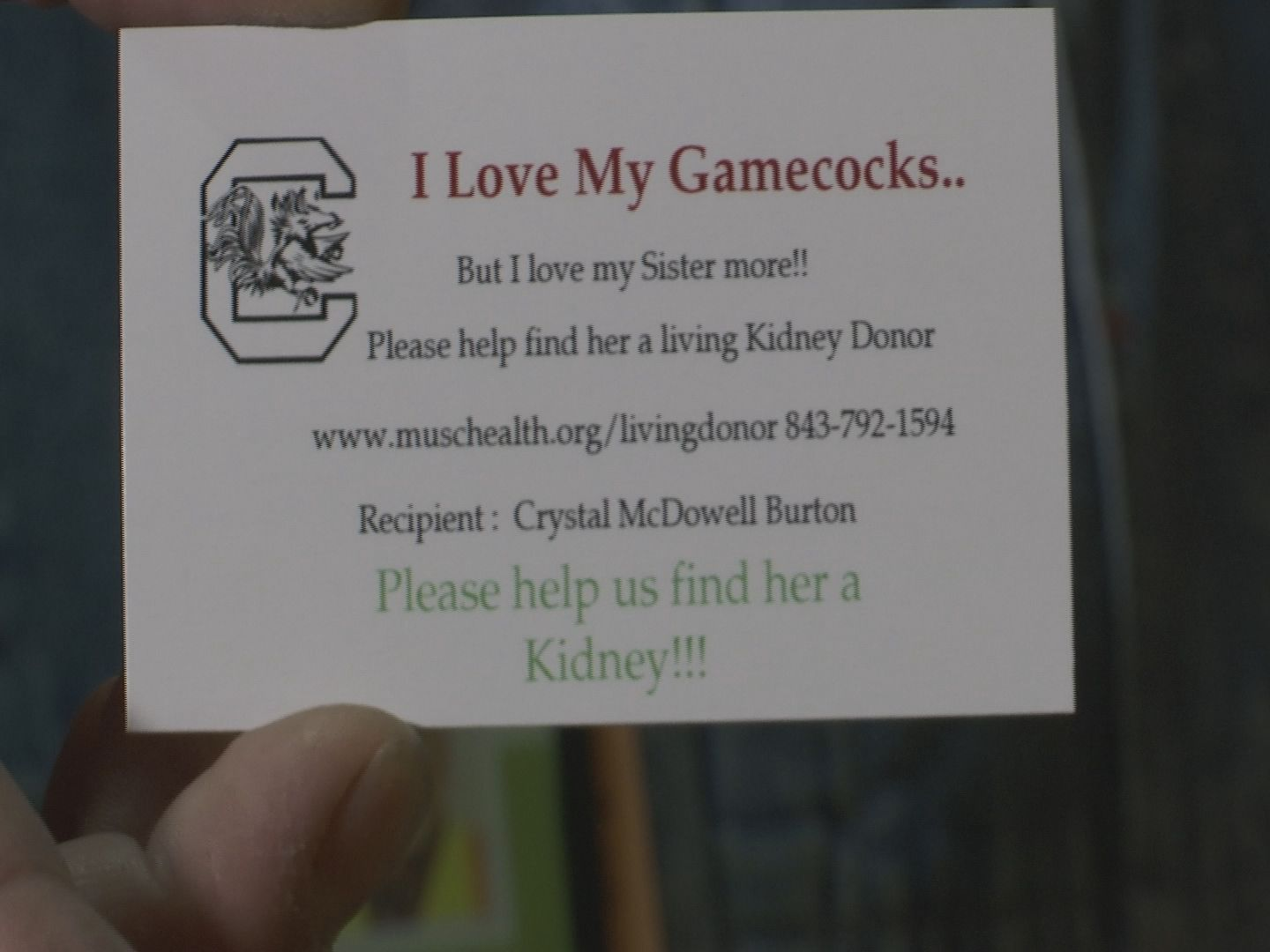 Gamecock fans ask the Gamecock Nation for help finding kidney donor