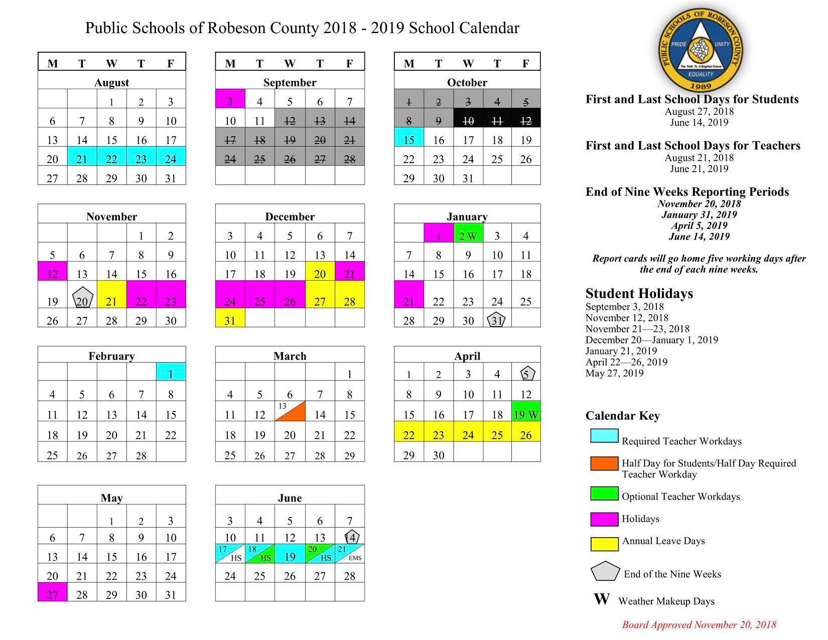 Horry County Schools Calendar 2020 Make up days, updated school calendars released for Public Schools