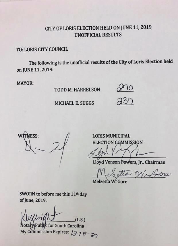 loris mayor runoff election unofficial results