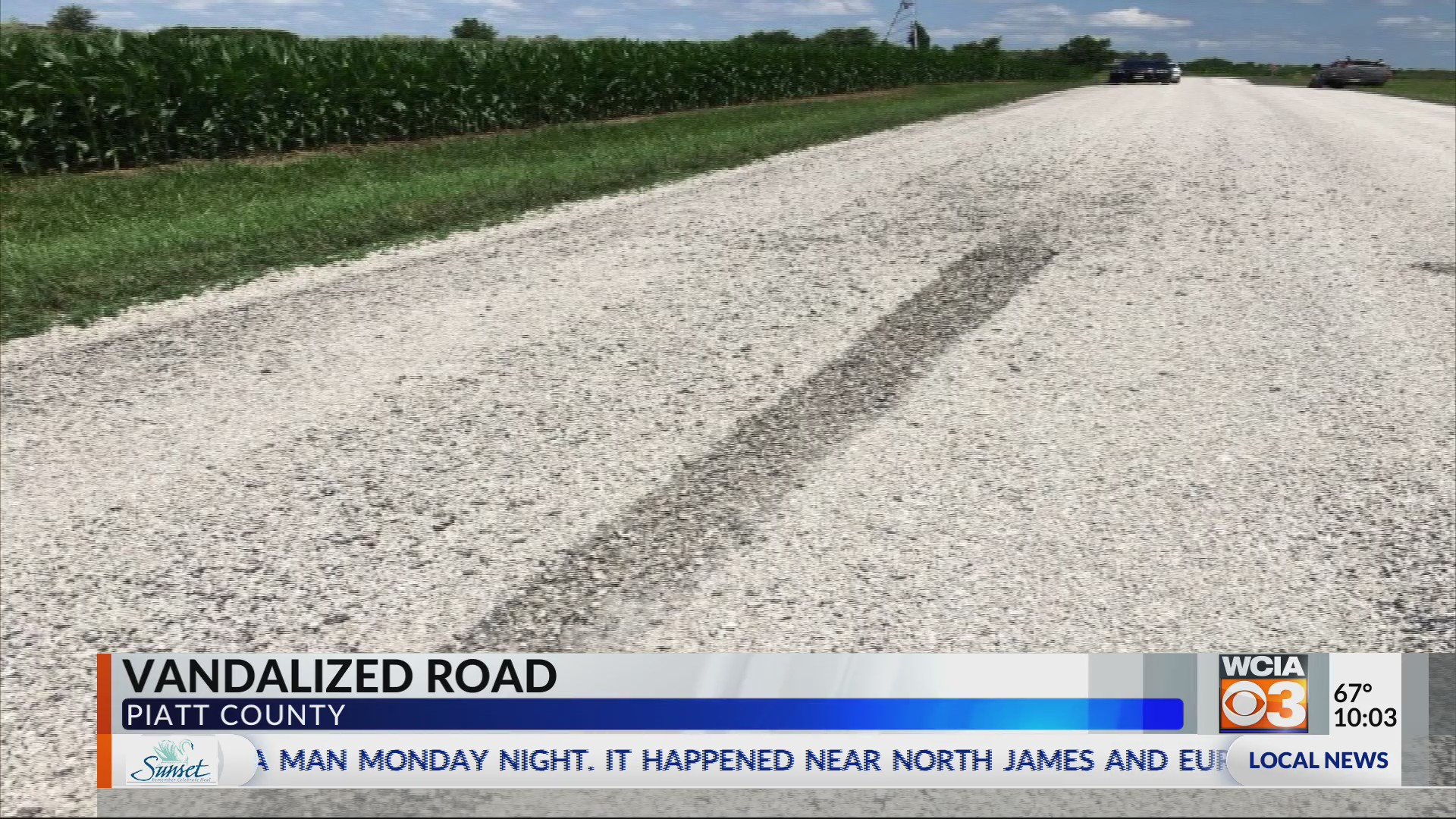 Road vandalized right after repair   WCIA com
