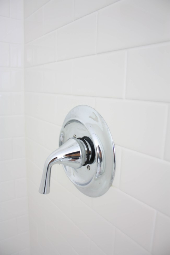Subway Tile Shower with Chrome Fixtures