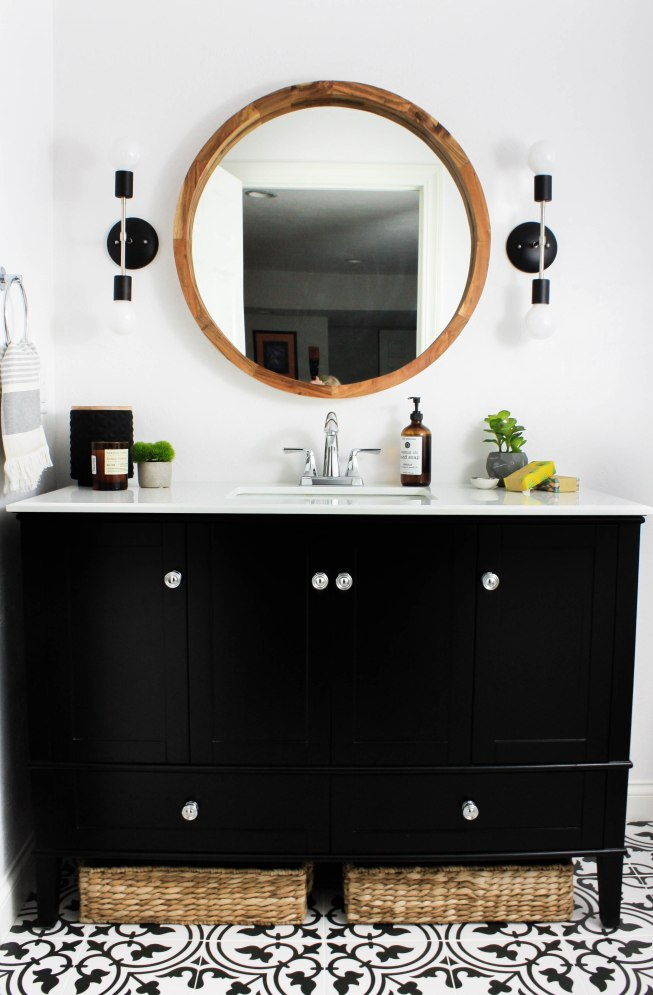 Transitional Black and White Bathroom