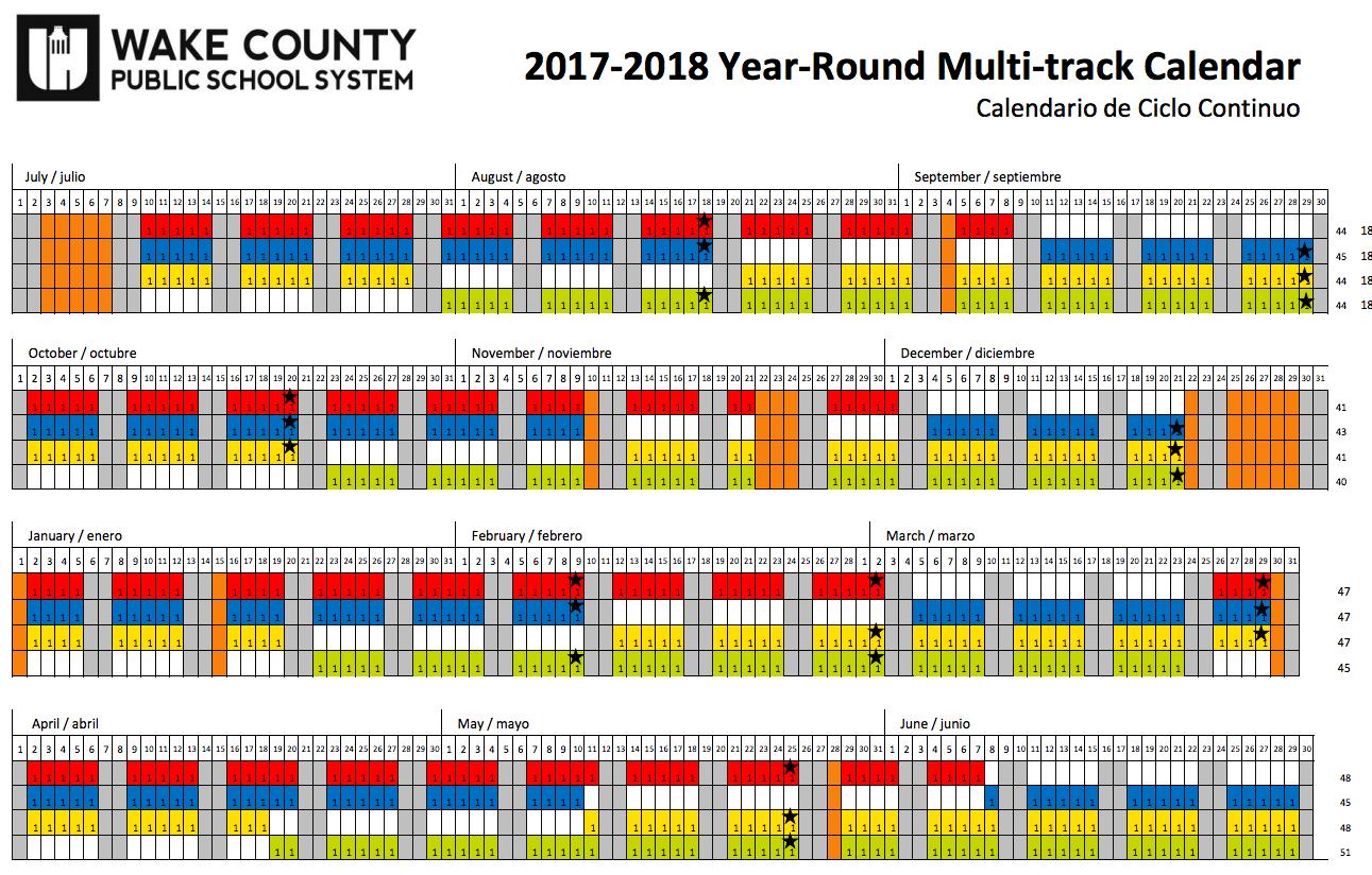 2017 2018 Wake County Year Round School Calendar