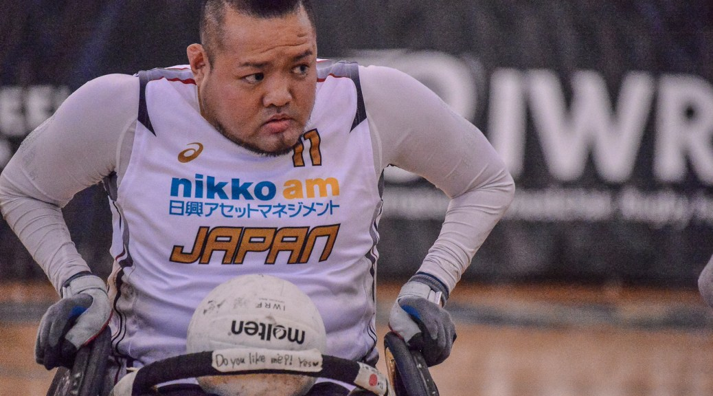 Team Japan's Shin Nakazato at the Vancouver Invitational Wheelchair Rugby Tournament. 2016.