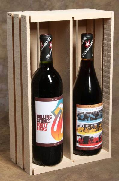 Two-bottle slat sided wine crate by Aria