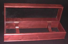 Premium wooden box with hinge top and bottle supports