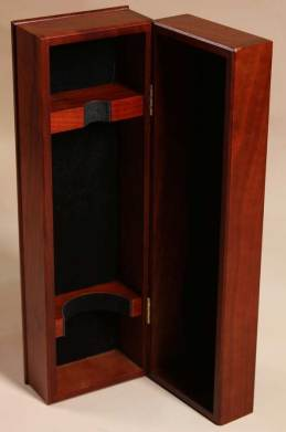 Premium wooden liquor box with wood form for bottle and hinge top box