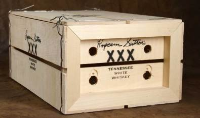 Popcorn Sutton's XXX Tennessee White Whiskey, rough finish package