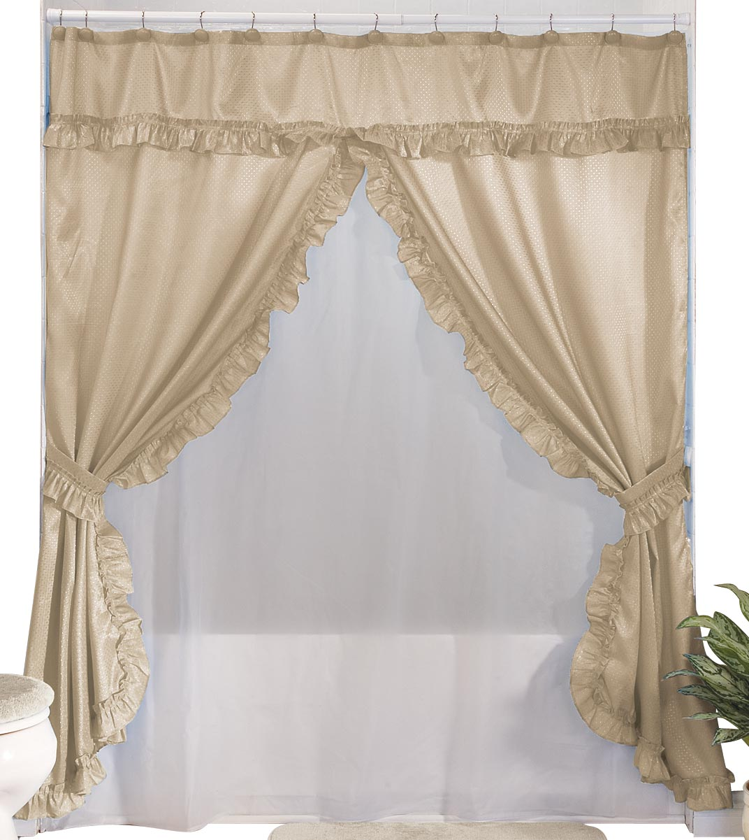 Walterdrake Double Swag Shower Curtains With Valance
