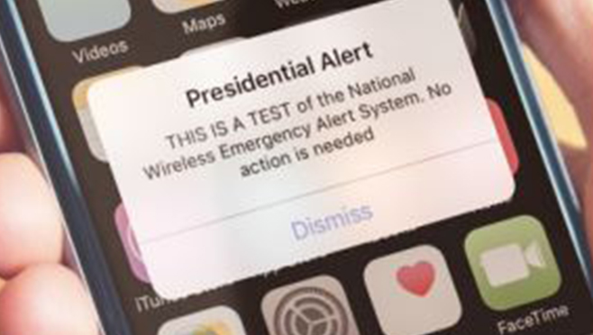 First nationwide test of 'Presidential Alert' messaging