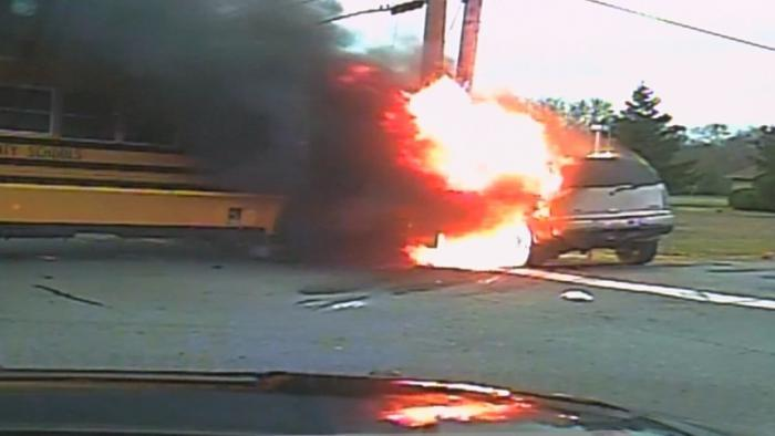 Dashcam Shows Terrifying School Bus Fire