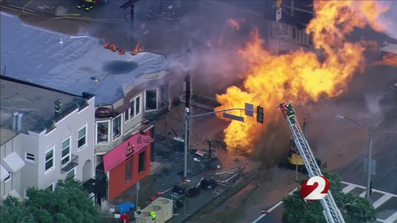 Flames from San Francisco gas explosion damage 5 buildings