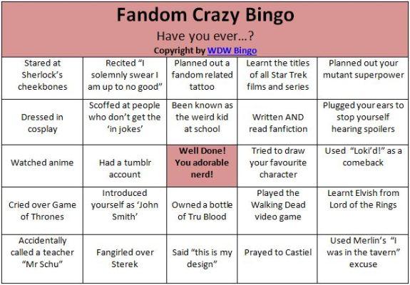 Fandom Buzzword Bingo