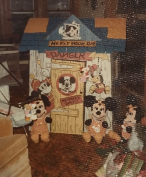 This was my most beloved present: Kristin Fuhrmann-Simmons The carboard Mickey Mouse Club House. I spent hours in this thing and remember the day that it became so ratty that my parents insisted that we throw it away. I stood at the kitchen window watching as it was piled on the garbage heap. It rained that day and I was miserably sad.