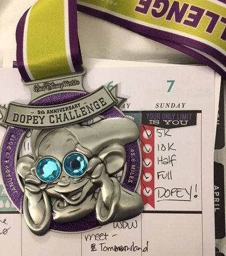 The medal for the Dopey Challenge 2018
