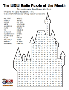 WDW Radio Puzzle of the Month Magic Kingdom Word Search