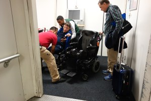 Transferring back into Andrew's wheelchair