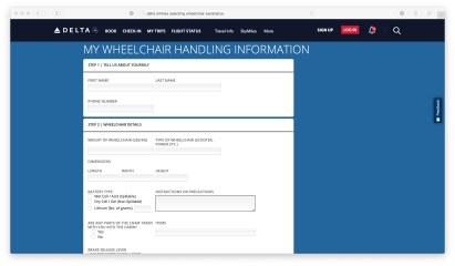 Delta Handling form screenshot