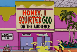 "alt=""remembering the Simpson's trip to Epcot-honey I squirted goo on the audience"""