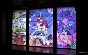 "alt=""Beauty and the Beast stained glass window that once was at Epcot's France Pavilion."""