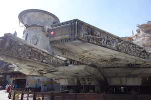"alt=""View of the Millennium Falcon at Star War's: Galaxy's Edge."""