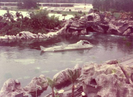 1972 photograph of 20,000 Leagues Under the Sea submarine attraction in Magic Kingdom at Walt Disney World