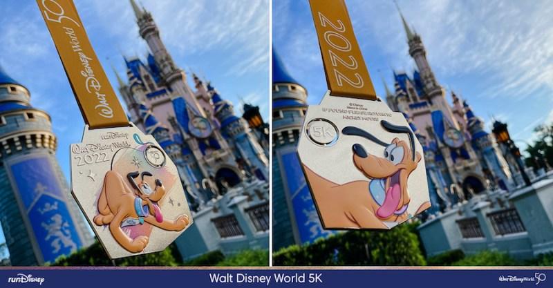 Front and back of 2022 Pluto 5k Marathon Medal - (C) Disney Parks