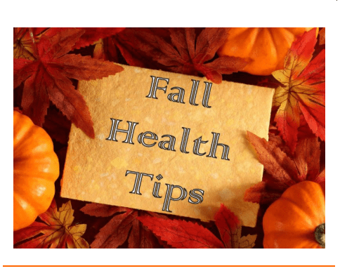 Fall Health Tips paper, fall leaves, pumpkin
