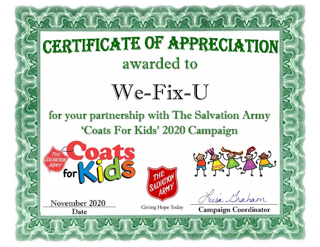 wefixu certificate coats for kids 2020